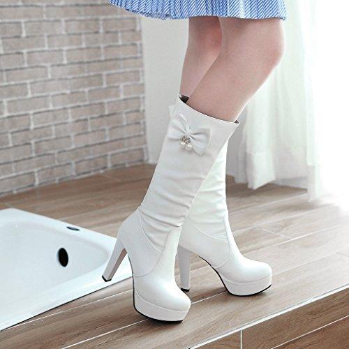 CXQ-Boots qin&X Women's Round Toe Block Heel Heels Long Boots Shoes White 9GuJyo