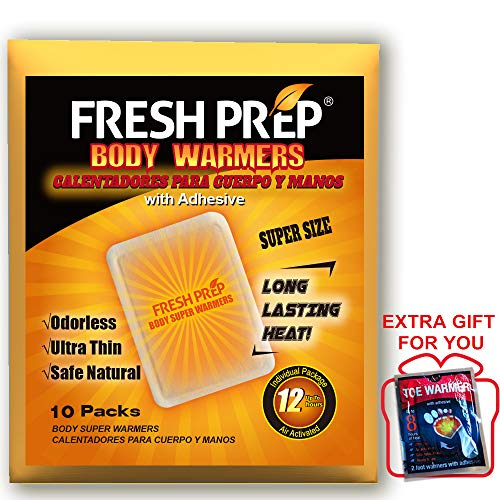 FRESH PREP Body Hand Super Warmers Large Heating Pads with Adhesive Backing - Long Lasting Safe Natural Odorless Air Activated Warmers, 10 Packs