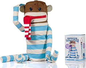 SUCK UK Sock Monkey Laundry Bag and Hanging Washing Basket with Velcro Hands, Multicolor