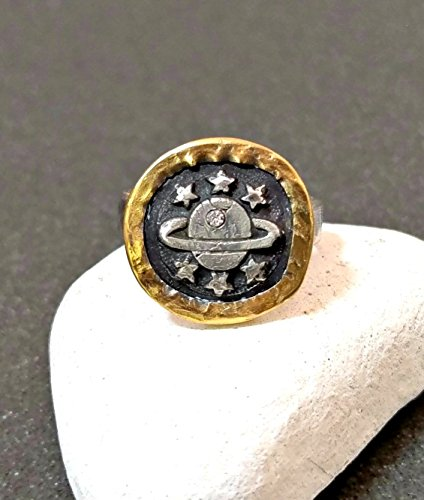 22 kt gold, silver and diamond galaxy ring by Mara Joyce Designs