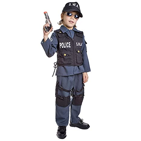 professionista di vendita caldo varietà di disegni e colori raccolta di sconti Dress Up America- SWAT Poliziotto Costume per Bambini da Carnevale  Halloween-L-Navy, Multicolore, età 12-14 (Vita 34-38, Altezza 50-57  Pollici), ...