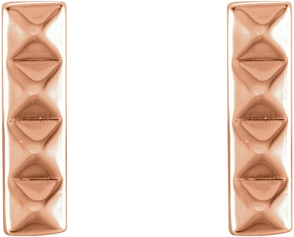 Jewels By Lux 14K Rose Gold Pair Polished Pyramid Bar Earrings