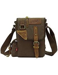liangdongshop Small Casual Canvas Genuine Leather Travel Messenger Bag Single Shoulder iPad Bag