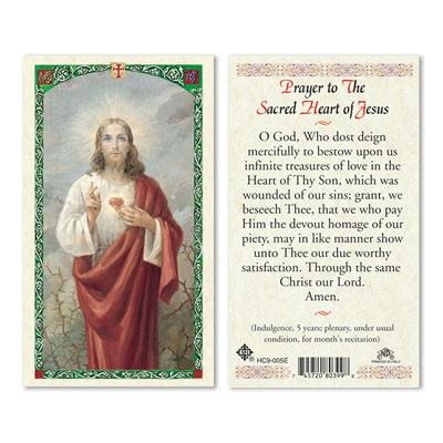 Prayer to the Sacred Heart of Jesus Paper Prayer Cards - Pack of 100 - HC9-005E-L (Jesus Card Prayer Of Sacred Heart)