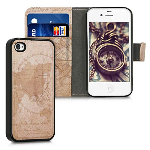 kwmobile Wallet Case for Apple iPhone 4 / 4S - Detachable PU Leather Cover - Travel Vintage, Brown/Light Brown (Vintage Iphone 4s)