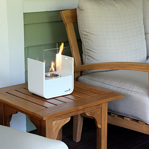 Ventless Small Tabletop Fireplace – White Stainless Steel Portable ...