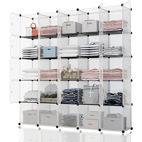 KOUSI Portable Storage Shelf Cube Shelving Bookcase Bookshelf Cubby Organizing Closet Toy Organizer Cabinet, Transparent White, 25 Cubes Storage