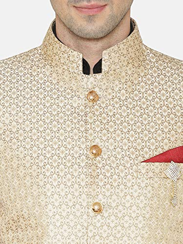 Cotton Grandad Wintage Tutte Le Colori Blazer E Rayon Oro 2 Jodhpuri Bandhgala Festivo Banarsi Uomo Casual Indiano Taglie wSBzStq