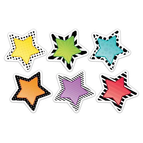 (Creative Teaching Press CTP8091BN 3 in. Bold Bright Stars Designer Cut-Outs - Pack of 6)