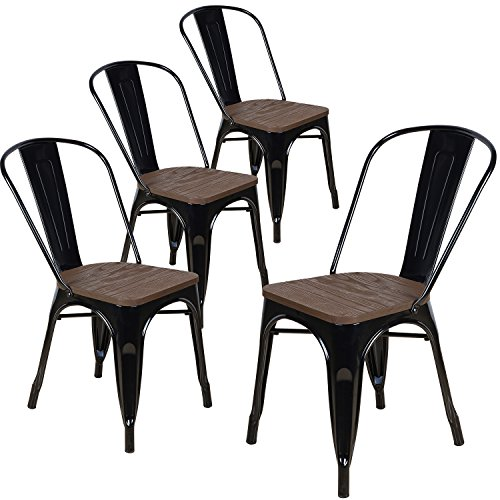 LCH Industrial Metal Vintage Stackable Dining Chairs, Set of 4 Indoor/Outdoor Rustic Bistro Cafe Chairs with Wood Seat and Back (Black)