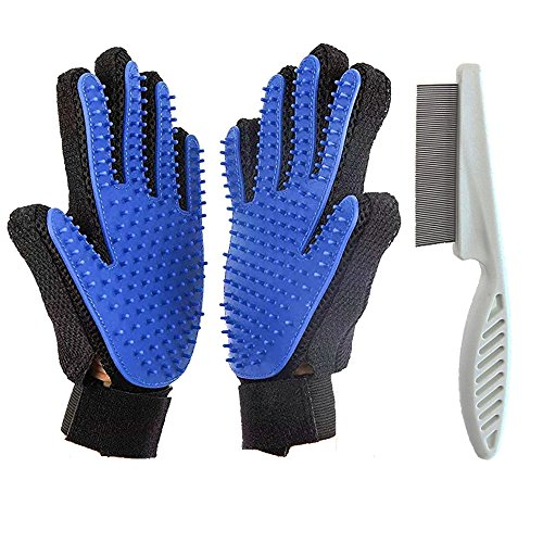 MoPets Supplies 2 Piece Pet Grooming Set Flea Comb for Cats, Dogs and Small Pets, Loose Hair Ticks Flea Removing Grooming Tool for Short and Long Hair (Glove and Comb Set)