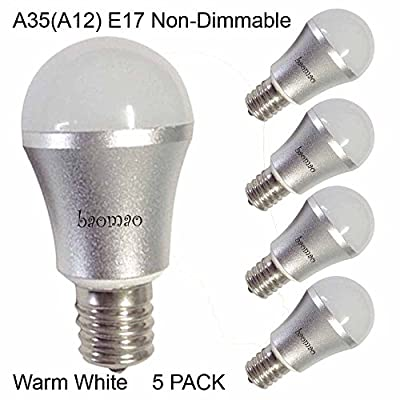 Baomao A35 LED Bulb, Base E17 3W, Warm White 2700K, LED Candle Bulbs, 25 Watt Light Bulbs Equivalent Incandescent,Non-dimmable, 270 Lumens LED Lights, Chandelier, Sliver 5 Pack