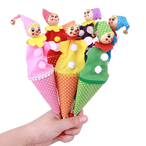 TOYMYTOY 6 Pcs Finger Puppets Clown Finger Toys Story Teller for Baby Kids Story Playset