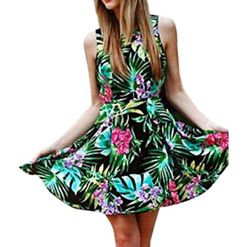 New Womens Baum Blatt druckte Sleeveless runder Ansatz duennes gefaltetes Large Rand Kleid