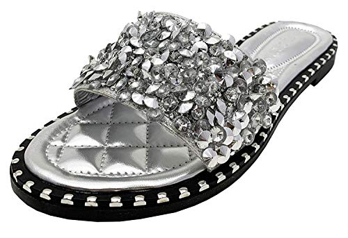 Wild Diva Women's Strappy Ankle Wrap Flat Sandal (9, Silver Sequinn)