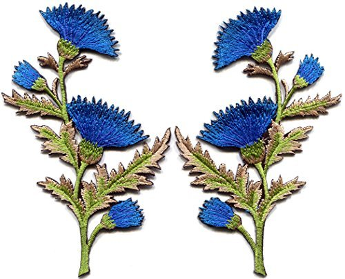 Blue carnation spray thistle pair flowers floral bouquet embroidered appliques iron-on patches pair ()