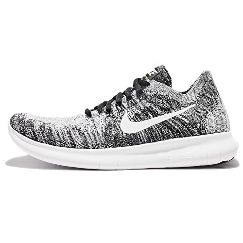 fc7a699bb1dfb Galleon - Nike Womens Free RN Flyknit 2017 Running Shoe BLACK WHITE-VOLT  11.0