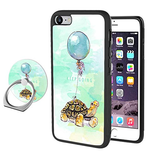 HD Sea Turtle Balloon iPhone 7 8 Case with Ring Holder Stand,360 Degree Rotating Grip Mounts Flexible Shockproof Rugged PC and TPU Case for iPhone 7 8-Black