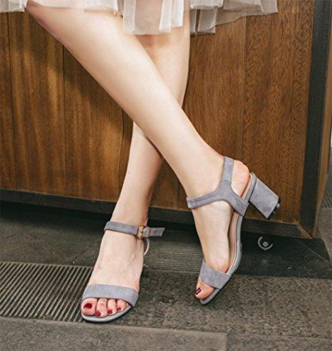 ... sandalias de tacón alto femeninos de espesor de gamuza mate hebilla con  los zapatos de punta d1a4b17d591