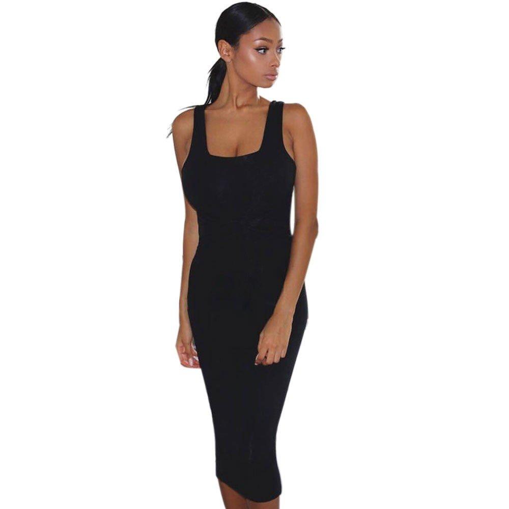 Women's Sexy Bodycon Sleeveless Pencil Knee Length Club Tank Dress Solid Waist Wrap Dress Black