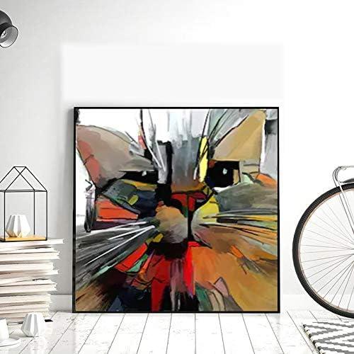 Geiqianjiumai Arte Gato Animal Lienzo Abstracto Mural decoración Moderna Cartel e impresión Arte de la Pared Sala de Estar Dormitorio Pintura sin Marco 50x50cm