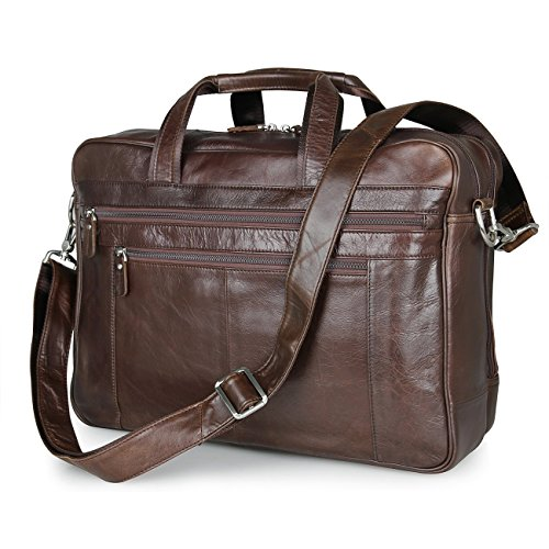 Texbo Men's Large Leather Briefcase Shoulder Messenger Bag Fit 17 Inch Laptop Tote (Coffee) by Texbo