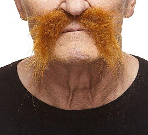 Realistic Fu Manchu ginger fake mustache, self adhesive - Halloween Facial Hair