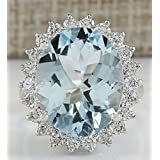 Women Fashion Jewelry 925 Silver Aquamarine Gemstone Wedding Engagement Ring#by pimchanok shop (7)