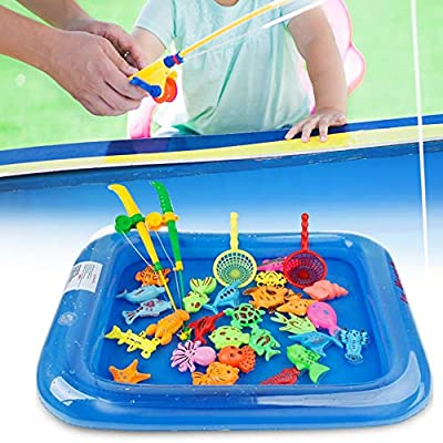 Konren 26pcs Fishing Toy Baby Bath Toy Net Fishing Game Fishing Learning Education Play Set Outdoor Fun Gift for Children Fishing Game for Kids: Toys & Games