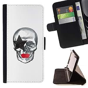 Momo Phone Case / Flip Funda de Cuero Case Cover - La estrella del cráneo;;;;;;;; - Samsung Galaxy Note 4 IV