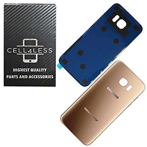 - CELL4LESS Compatible Back Glass Cover Back Battery Door w/Pre-Installed Adhesive Replacement for Samsung Galaxy S7 Edge OEM - All Models G935 All Carriers- 2 Logo - OEM Replacement (Gold Platinum)