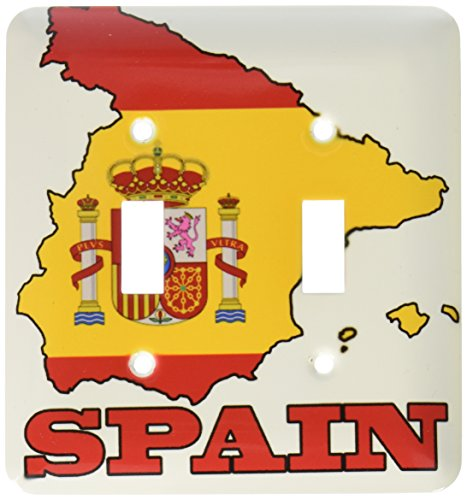 3dRose lsp_63206_2 The flag of Spain in the outline map of the country and name, Spain Double Toggle Switch by 3dRose