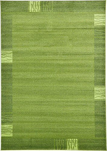 Unique Loom Del Mar Collection Contemporary Transitional Light Green Area Rug (7' 0 x 10' 0) (Collection Green)