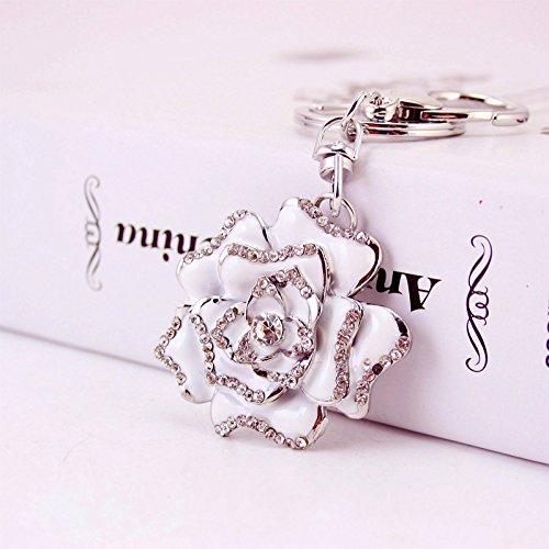 Reizteko Blossoming Rose Keychain Sparkling Flower Keyring Crystal Rhinestones Purse Pendant Handbag Charm (White)