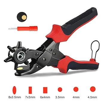 Hangrui Alicate Sacabocados Agujeros Cinturon ,Alicates de Perforación Cuero Perfora la Herramienta el Kit de 6 Tamaños 2.0-4.5mm Perforador De Cuero, ...