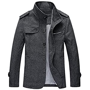 Chouyatou Men's Military Stylish Single Breasted Natural Fit Stripe Lined Wool Pea Coats
