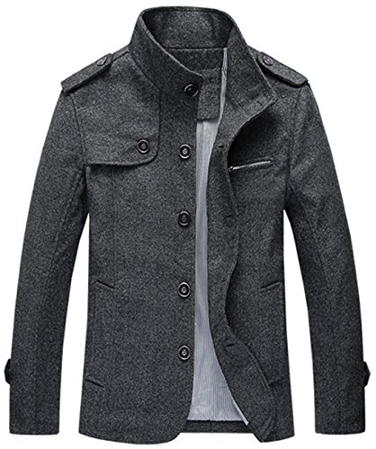 chouyatou Men's Military Stylish Single Breasted Natural Fit Stripe Lined Wool Pea Coats (Large, Dark Grey)