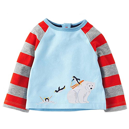 Little Boys Stripes Long Sleeve Polar Print Pullover Cotton Pull On Sweatshirt Size 18M ()