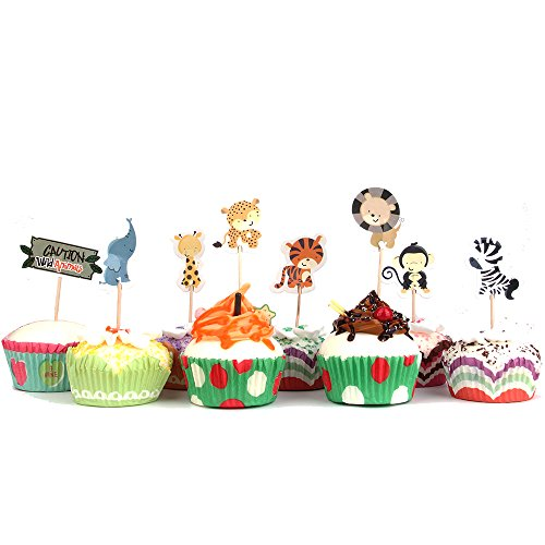 Cute Ideas For Halloween Desserts - Skylove 48pcs cute wild animals Dessert Muffin Cupcake Toppers for Picnic Wedding Baby Shower Birthday Party Server - Rabbit, Squirrel, Racoon and Owl