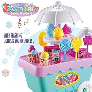 heytech Ice Cream Candy Cart 27 PCS Pretend Play Food Dessert Cash Trolley Set Toys Music Lighting Kids, Toddlers, Girls