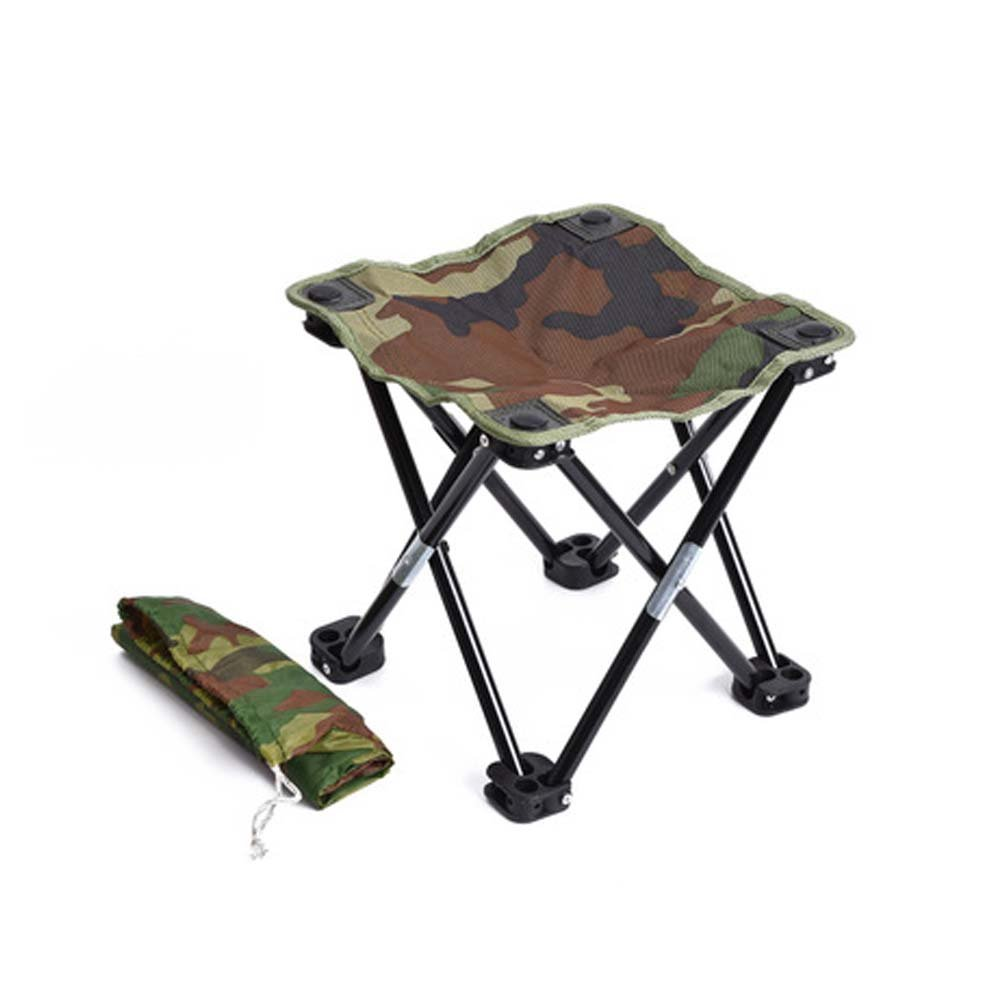 風の目標達成折りたたみキャンプスツールミニ折りたたみスツール椅子ビーチピクニックパーティーキャンプバーベキュー釣りハイキング B07F75678Z  迷彩