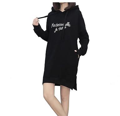 Landove Sweat Robe de Sport Femme Mode Casual Pull a Capuche Moulantes  Manche Longue Sweatshirt Imprimé 4971a2c7c022