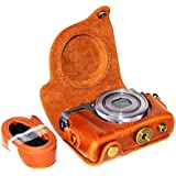 No1accessory XJPT-G9X-09 ブラウン Canon PowerShot G9X G9 X 専用 防水 PU レザー 一眼レフ カメラバッグ カメラケース ハンドストラップ