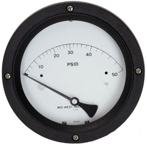 Mid-West 122-AC-02-O(MA)-15P Differential Pressure Gauge with Aluminum Body and Stainless Steel Internals, 1 Reed Switch Clamp-On, Piston Type, 5% Full Scale Accuracy, 4-1/2
