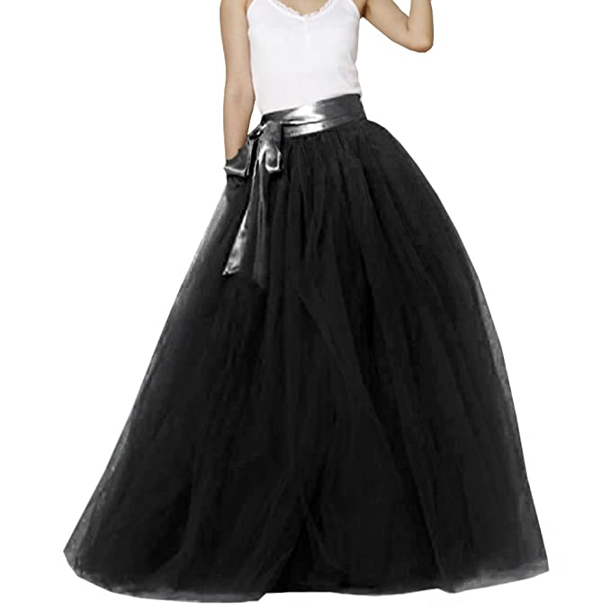 vendite calde 697af d61a4 Wedding Lady, gonna lunga in tulle da donna con fiocco alla vita Black  Taglia 48
