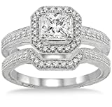 2.00 carat Antique Halo Bridal set with Princess Cut diamond in 10k Rose Gold