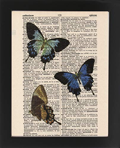 Trio Butterfly Art (Butterfly Trio - Upcycled Dictionary Art Print 8x10. - UNFRAMED - Frame and matting are for presentation purposes only to show you how they can look.)