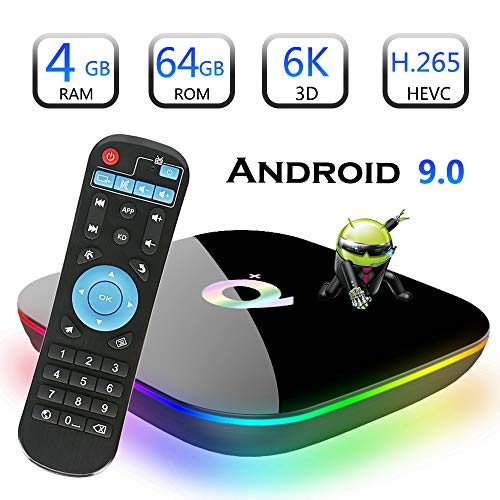 Android 9.0 TV Box, EVANPO Smart Box Android TV Player 4GB RAM 64GB ROM Quad Core Speed Support 3D/ 4K/ 6K Ultra HD/H…