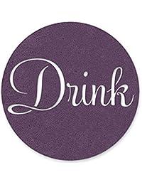 Acquisition 4 Inch 'Drink' Cut-Out Design Felt Coasters, Purple Set of 4 offer