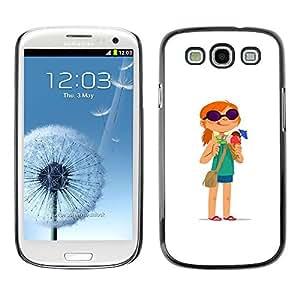 Ihec Tech / Redhead chica aventura Historieta blanco / Funda Case back Cover guard / for Samsung Galaxy S3